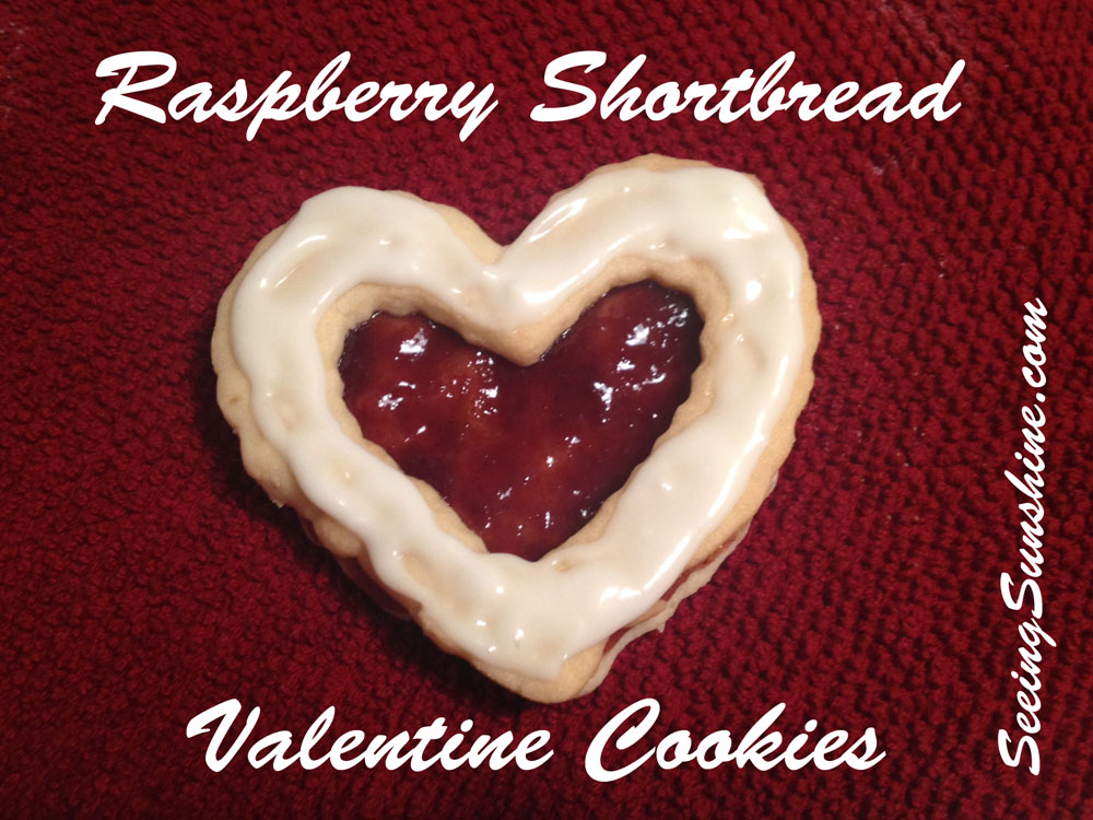 Raspberry Shortbread Valentine Cookies by Seeing Sunshine