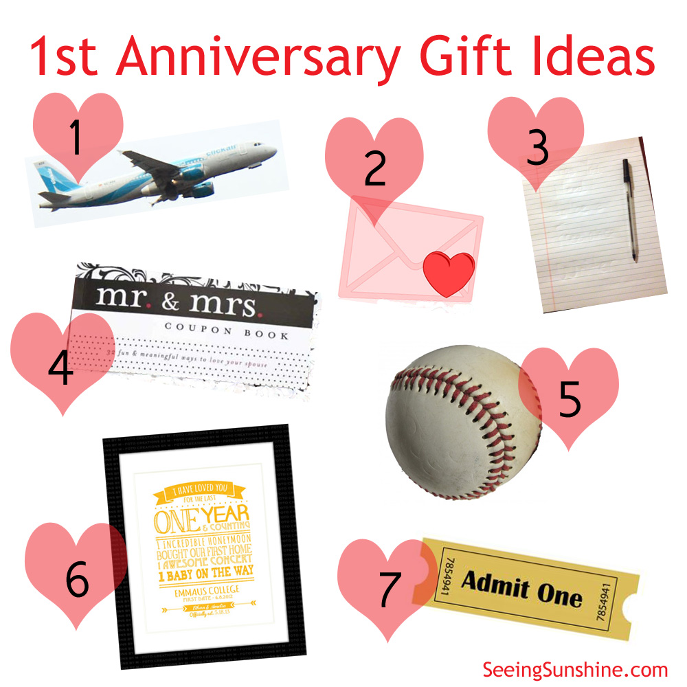First anniversary gift ideas seeing sunshine for Gift ideas for 1 year wedding anniversary