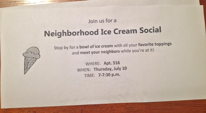 neighborhood ice cream social seeing sunshine