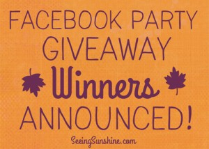 Facebook Party Giveaway Winners