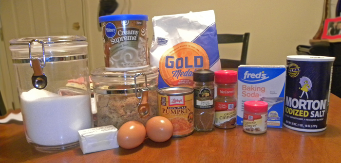 Ingredients for Pumpkin Cookies