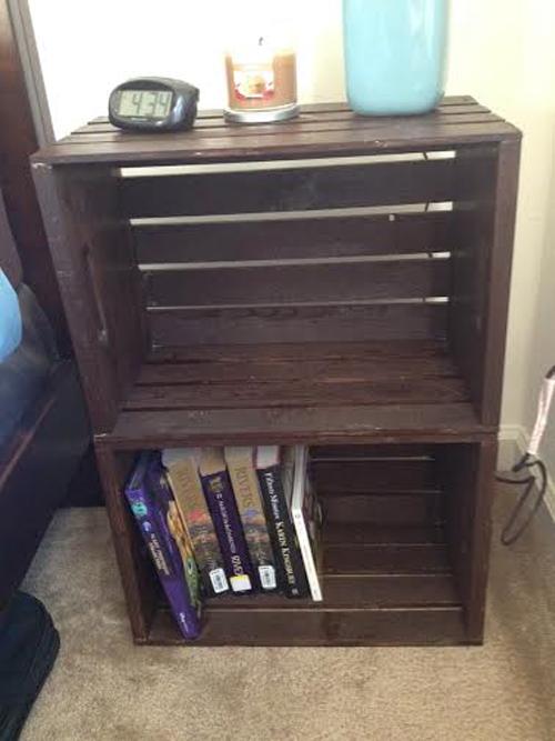 diy crate nightstand - seeing sunshine Diy Night Stand