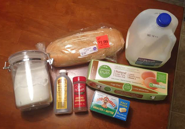Ingredients for French Toast Casserole