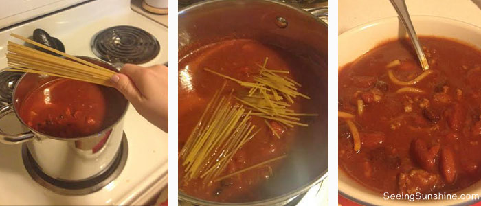 Add spaghetti to chili