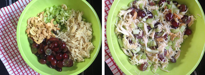 Mix chicken salad ingredients