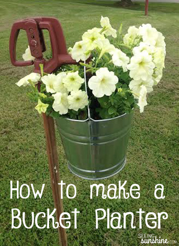 Diy Bucket Planter Seeing Sunshine