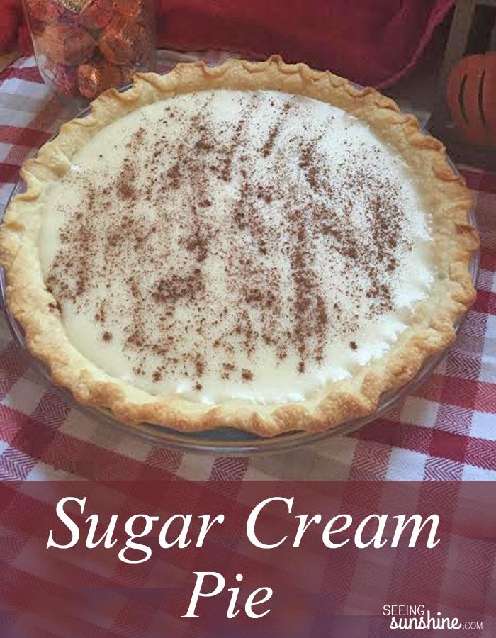Recipe for Sugar Cream Pie