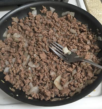 Brown meat and onions