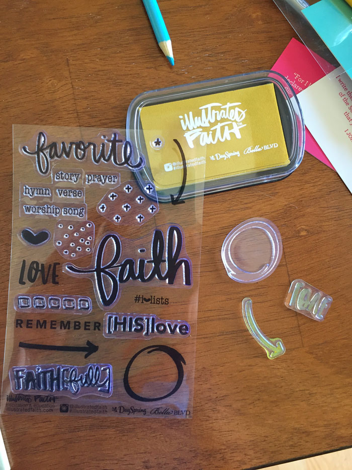 Check out these stamps from the devotional kit for Bible journaling.