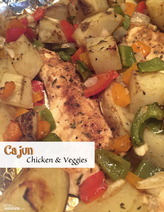 Try this flavorful dish of cajun chicken and veggies -- healthy and delicious!