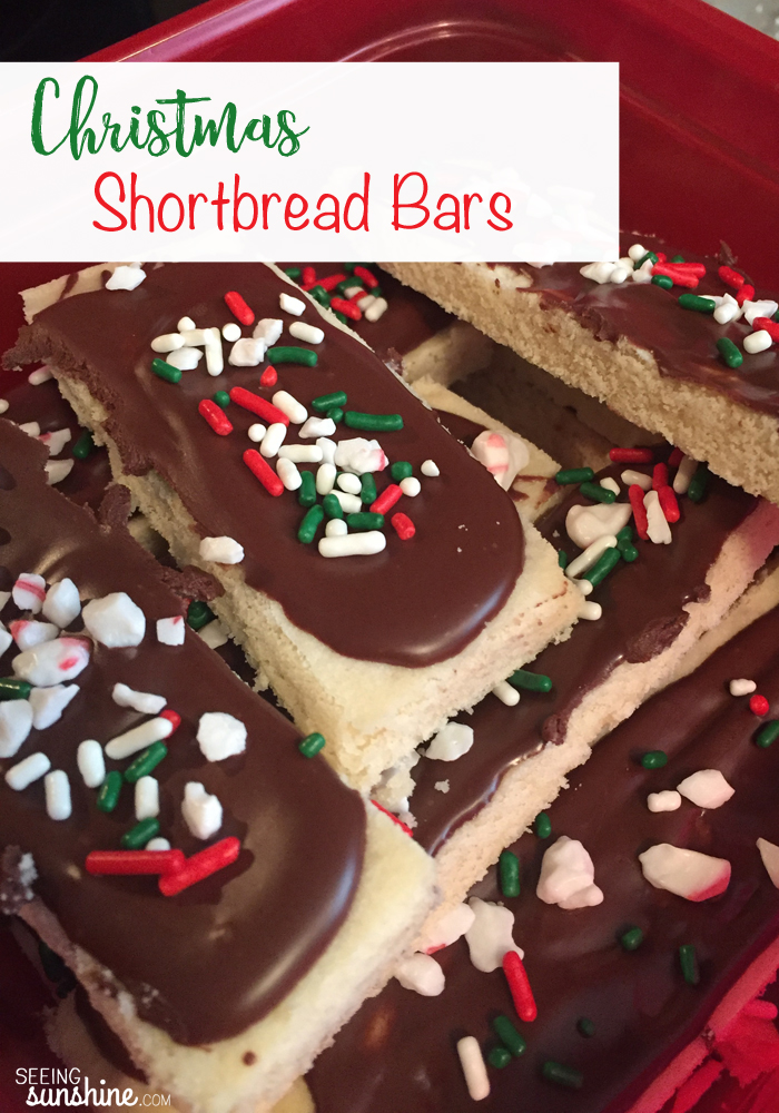 Check out this recipe for Christmas Shortbread Bars! They are such a yummy holiday treat!