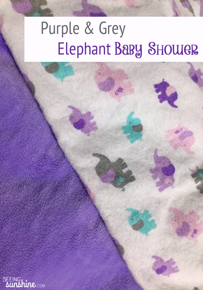 Check out all the details from my purple and grey elephant baby shower -- everything from decorations to food to games!