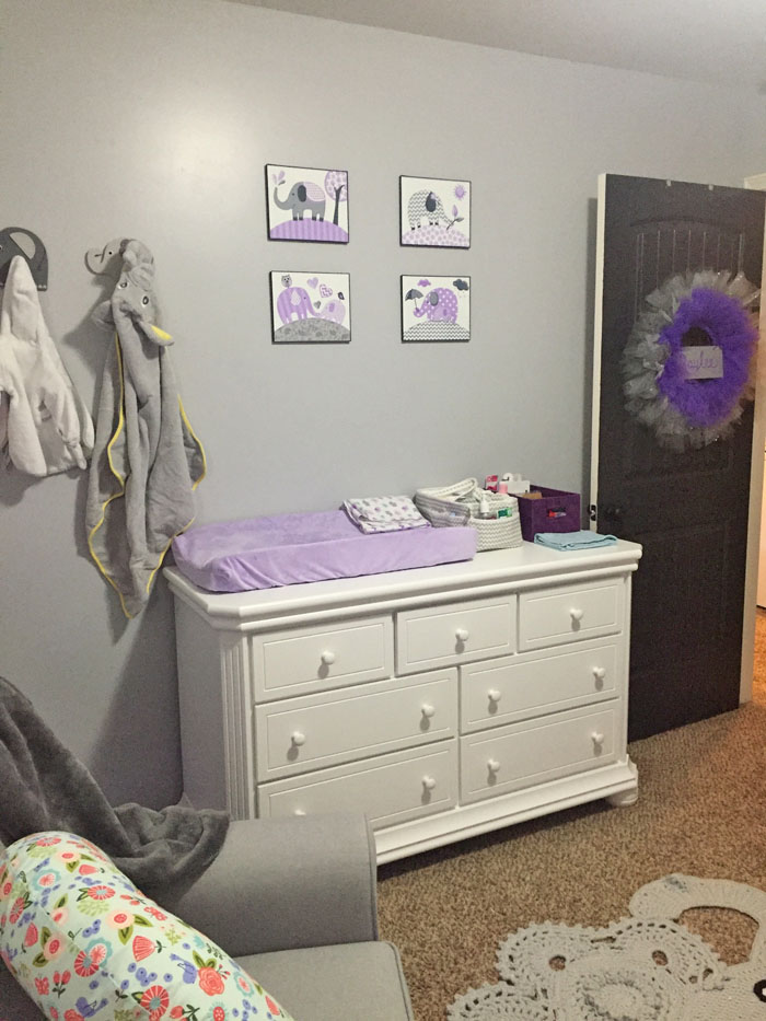 Check Out All The Details Of This Purple And Grey Nursery Filled With Cute Elephants