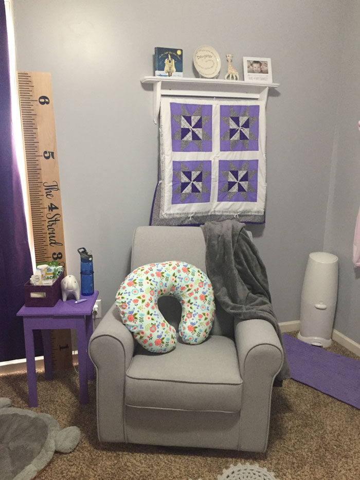 Check out all the details of this purple and grey nursery filled with cute elephants!